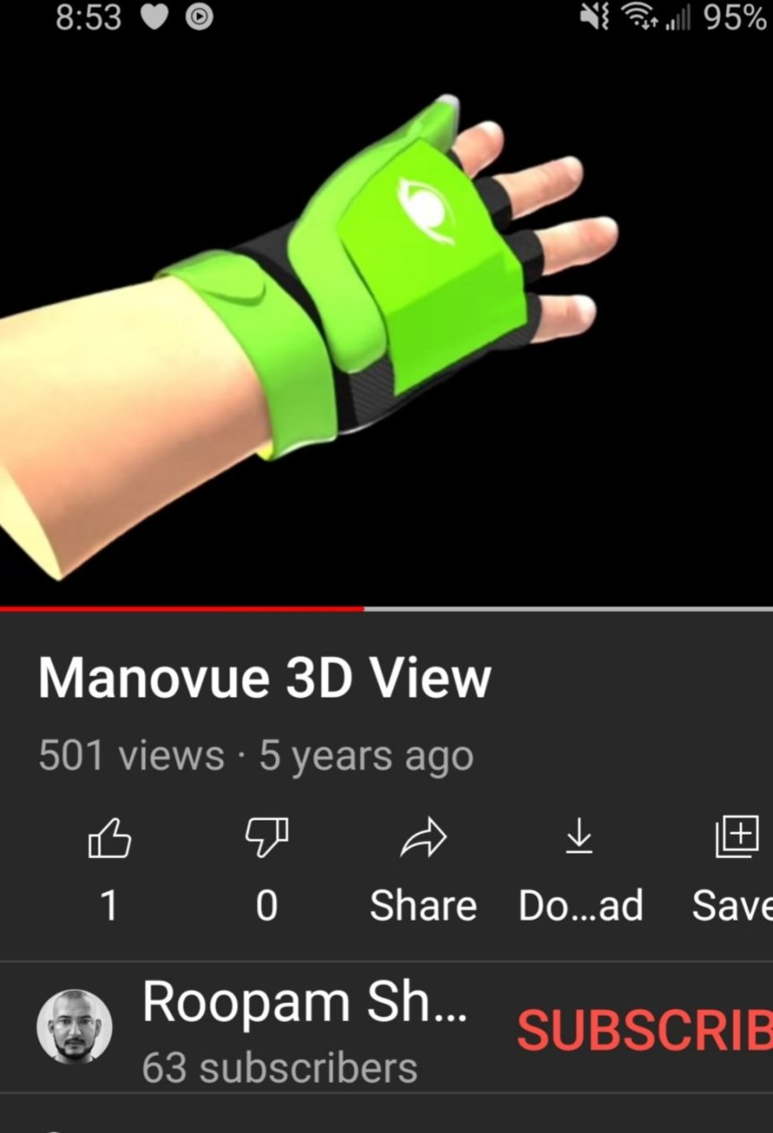 a screenshot of a YouTube video showing an image of the Manovue glove