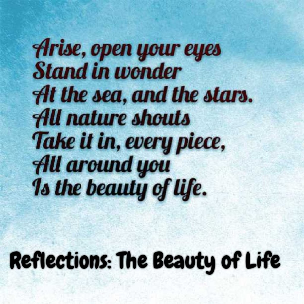 The beauty of life poem text reads  Arise, open your eyes Stand in wonder At the sea, and the stars. All nature shouts Take it in, every piece, All around you Is the beauty of life.