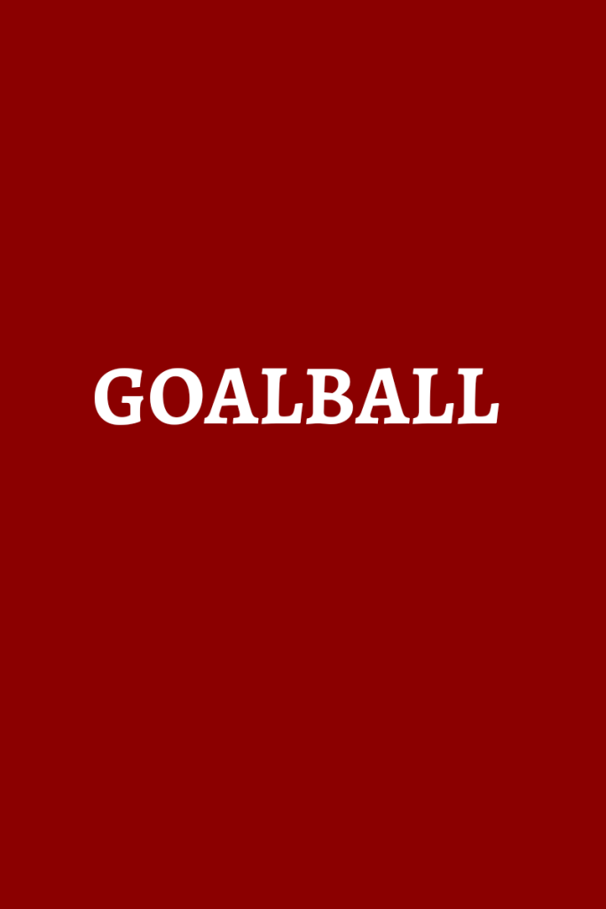 text reads goalball. Text is in white on a red background.