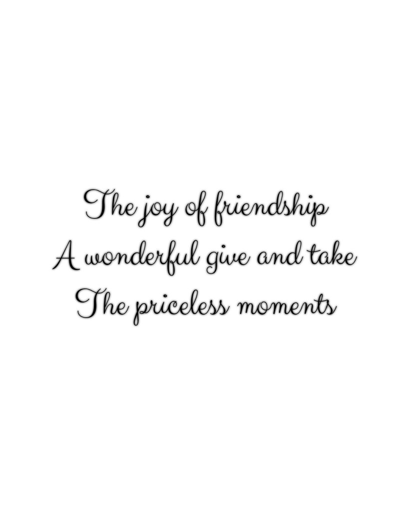 Poem text reads The joy of friendship A wonderful give and take The priceless moments.  Text is in script on a white background