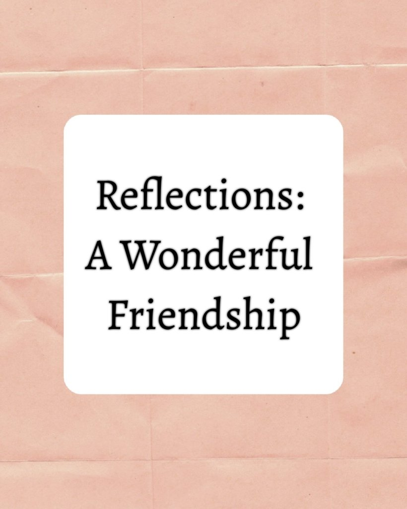 Text reads Reflections a wonderful friendship. Text is on a white background. There is a border around the text showing a texture of folded paper.