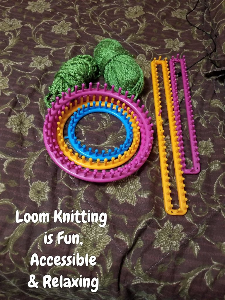 Image shows round and rectangular looms of various colors and sizes  with 2 balls of yarn. Text reads loom knitting is fun, accessible & relaxing.