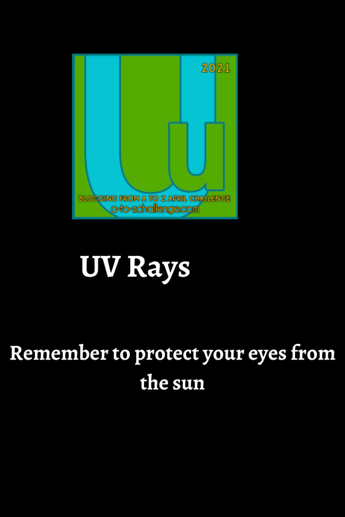 The 2021 blogging from a to Z april challenge letter u graphic is on top center. Text below reads uv Ray's remember to protect your eyes from the sun