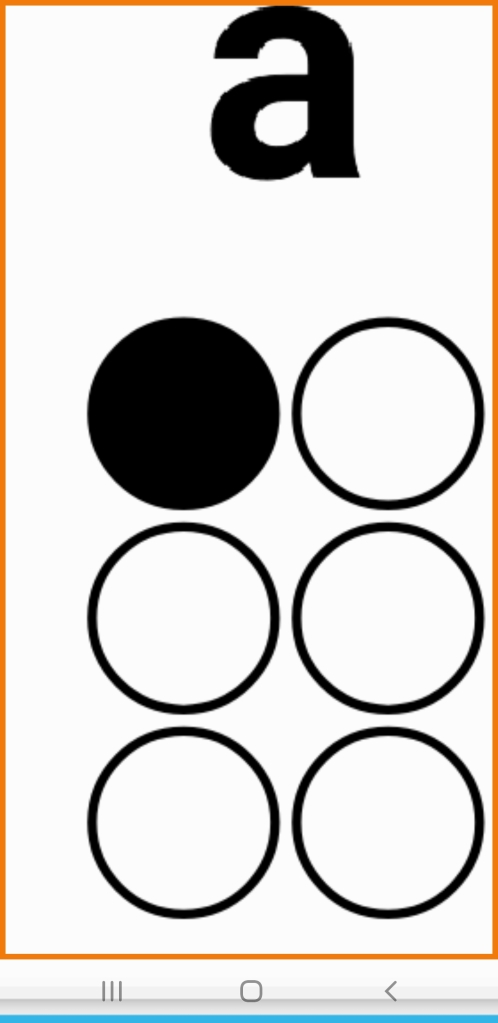 Image shows 2 columns with 6 dots 3 dots in each column. The first dot on the top left is black and the others are white.