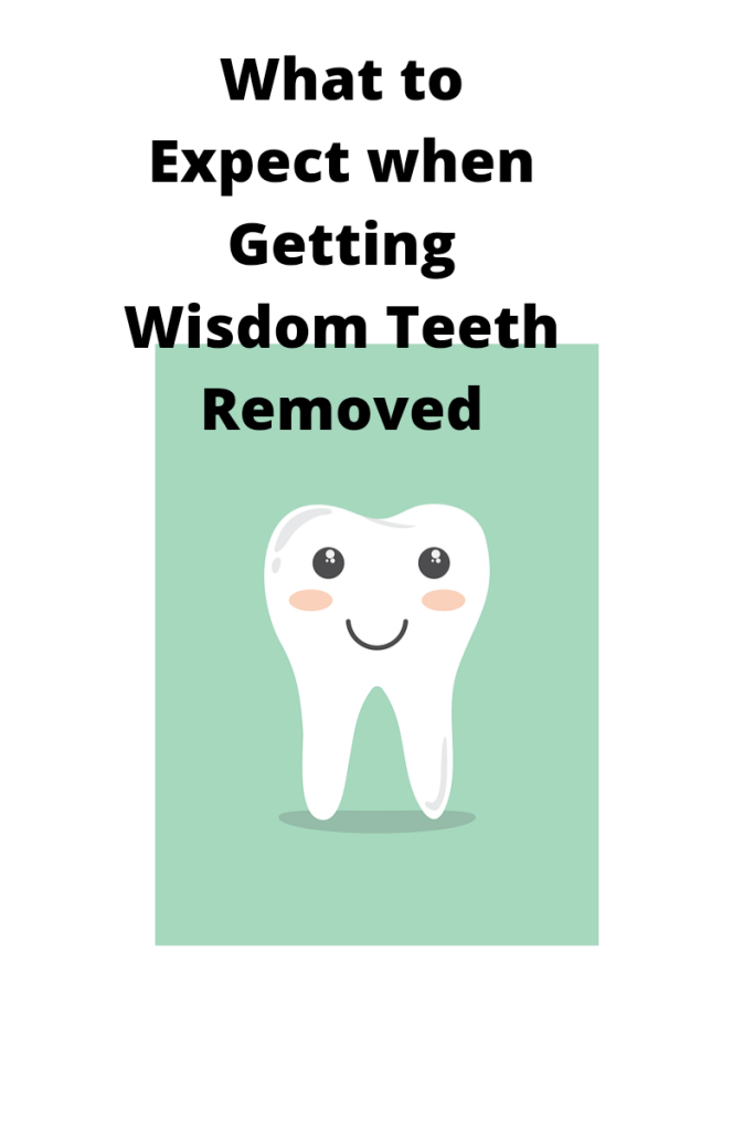 Image is a cartoon depicting a teeth cleaning. Text reads what to expect when getting wisdom teeth removed